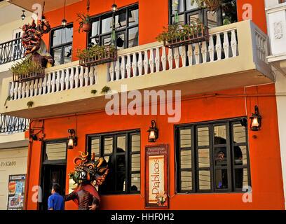 Diablicos typical panamean restaurant Casco Viejo Panama city Panama - Stock Image