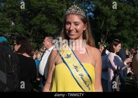 Miss Sweden Day 2019 at the Swedish Midsummer Festival, held annually in Battery Park City's Wagner Park. - Stock Image