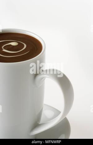 Cup of drinking chocolate. White background. Studio shot.       Ref: CRB538_103609_0018  COMPULSORY CREDIT: Martin Harvey / Photoshot - Stock Image