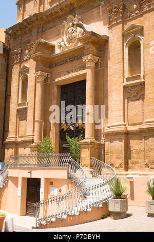 Italy Sicily Agrigento old town Piazza L Pirandello Church Chiesa San Dominico ornate Baroque facade elegant stairs statue Madonna del Rosario 17th c - Stock Image
