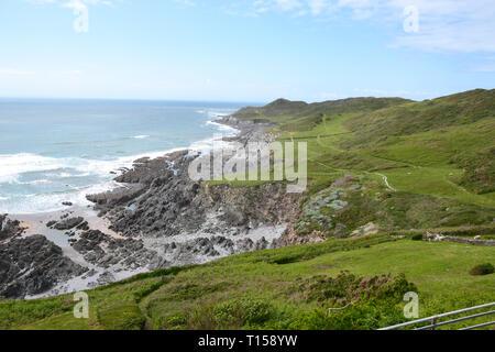 The South West Coast Path alongside Woolacombe Beach, Woolacombe Bay, Devon, UK - Stock Image
