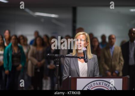 U.S. Homeland Security Secretary Kirstjen Nielsen speaks during press conference about relief efforts after Hurricane - Stock Image