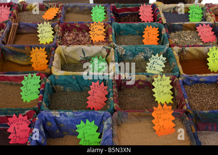 France Nice Cours de Solaya old city center market stall with spices - Stock Image