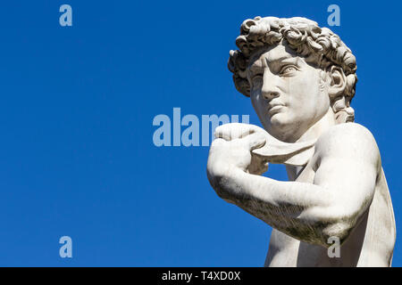 Replica of David, sculpture, Michelangelo,  outside the Palazzo Vecchio, Florence, Tuscany, Italy - Stock Image