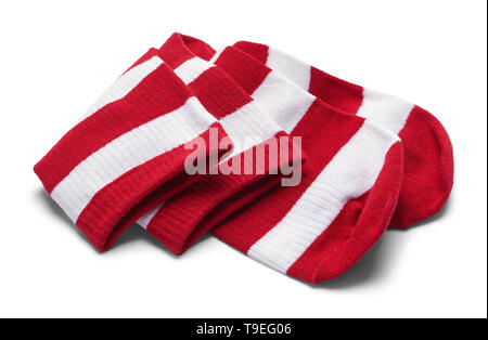Two Red and White Striped Folded Socks Isolated on White. - Stock Image