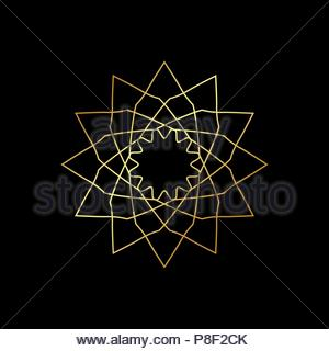 Linear geometric ornament on black background. - Stock Image
