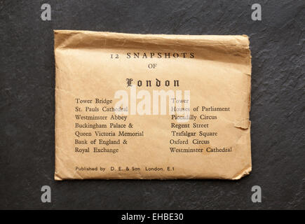 1950's Souvenir Pack of Postcards of London - Stock Image