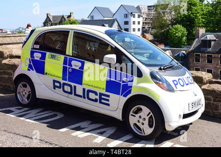 Scottish police eco-friendly, electric panda car, Castle Hill, Inverness, Highland, Scotland, United Kingdom - Stock Image