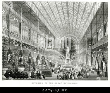 Interior of The Great Exhibition, from the south transept. - Stock Image