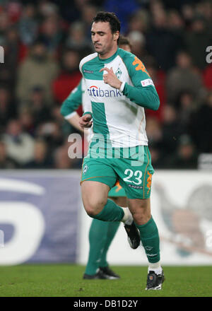 Hugo Almeida of Bremen is sent off the pitch after getting a red card during the Bundesliga match Hanover 96 vs - Stock Image