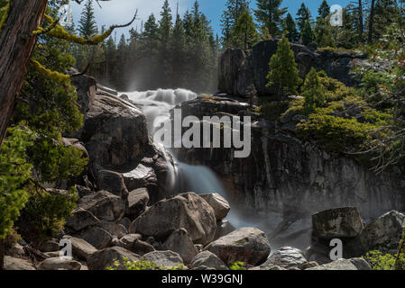Bassi Falls at the Eldorado National Forest, California, USA, in the beginning of the summer of 2019, viewed close, long exposure - Stock Image