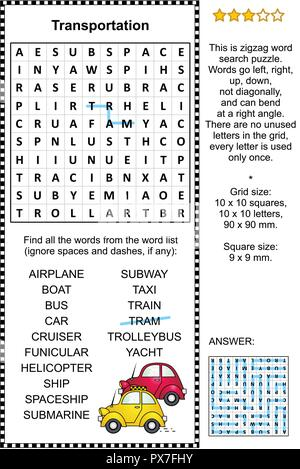Transportation themed zigzag word search puzzle (suitable both for kids and adults). Answer included. - Stock Image