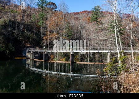 Tuckasegee Lake and dam in the West Fork Tuckasegee River along scenic route NC 107 in mountains of SW North Carolina, - Stock Image