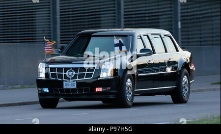 Helsinki, Finland. 15th July 2018. The Presidential limousine, 'The Beast', taking Donald Trump from Helsinki-Vantaa airport to his accommodation at Kalastajatorppa for the summit between the Presidents of the USA and Russian Federation on 15 July 2018. Credit: Hannu Mononen/Alamy Live News - Stock Image