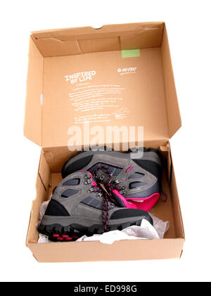 New hiking boots in box. - Stock Image