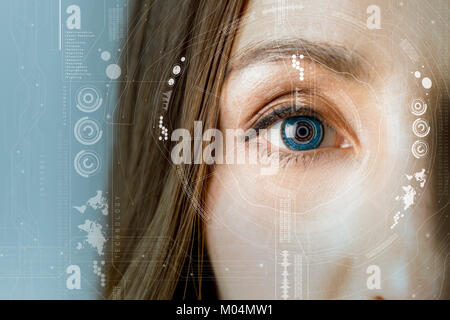 human eye and graphical interface. smart contact lens concept. - Stock Image