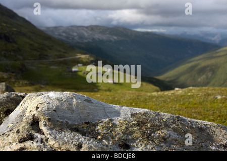 Summer farm allong the Aurlandsvegen, Aurlands road, Sogn og Fjordane, Norway - Stock Image