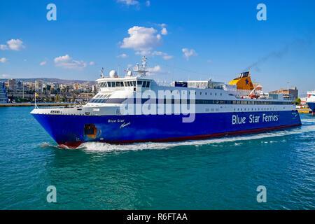 Blue Star car and passenger ferry Blue Star Naxos leaving port of Piraeus Athens Greece Europe - Stock Image