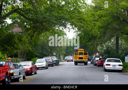 School bus in Suburbs of Galveston, Texas, USA - Stock Image