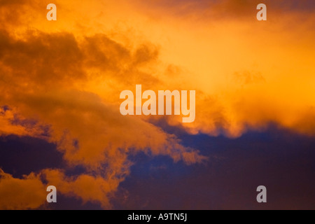 Surreal Storm Clouds Sunset - Stock Image