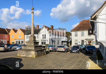 The historic Market Place, Lavenham, Suffolk, England, United Kingdom. - Stock Image