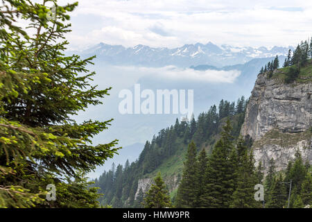 Mount Pilatus and Lake Lucerne Switzerland - Stock Image