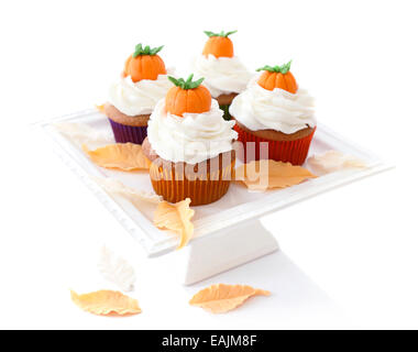 Pumpkin spice cupcakes isolated on white background - Stock Image