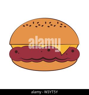 Fast food hamburger with cheese - Stock Image