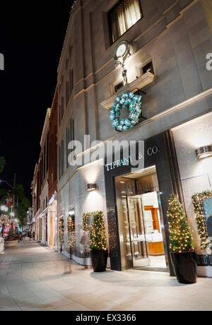 Tiffany & Co store on rodeo drive, Beverly Hills,Los Angeles, at night with Christmas decorations. - Stock Image