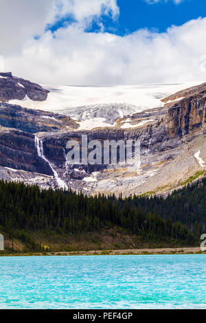 Bow Glacier with waterfalls and Bow Lake in Banff National Park, Alberta, Canada. Bow Glacier is an outflow glacier from the Wapta Icefield along the  - Stock Image