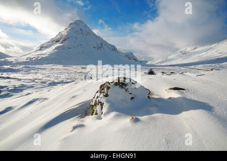 Glencoe in the Scottish Highlands covered in winter snow - Stock Image