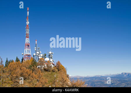 On The Penegal You Will Find, Next To A Hotel, A Modern Lookout Tower, Also The Modern Broadcasting System - Stock Image