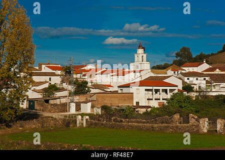 Panoramic view of San Nicolas del Puerto. Sierra Norte Natural Park. Seville province. Region of Andalusia. Spain. Europe - Stock Image