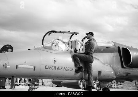 A young boy gets shown a Czech air force Aero L-159 Alca multi-role aircraft at the Malta International Airshow - Stock Image