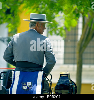 Carriage driver in traditional costume, Jerez de la Frontera, Andalucia, Spain - Stock Image