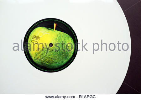 The Beatles - the album known as 'The White Album' . This is a German white vinyl issue from 1985. - Stock Image