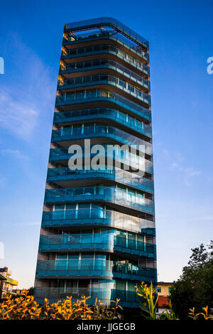 Tall apartment building called G-HOUSE tower. Jesolo, Italy. - Stock Image
