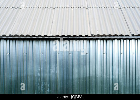 Sheet metal Aluminum in silver color often used for fencing, roofing and construction projects - Stock Image