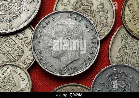 Coins of Spain. King Juan Carlos I of Spain depicted in the Spanish 25 peseta coin (1975). - Stock Image