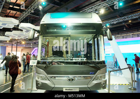 Greater Noida, India. 14th February 2018. Tata Motors showcase their Starbus electric commercial vehicle at Auto - Stock Image