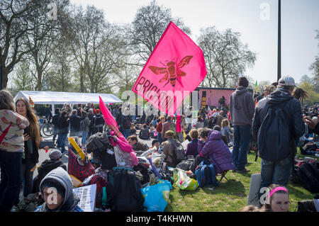 A flag from Brighton at the Extinction Rebellion demonstration in Marble Arch - Stock Image