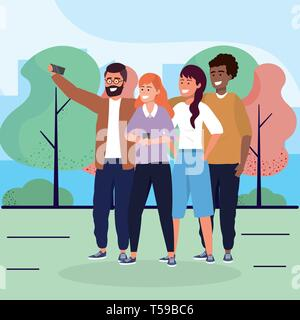 women and men friends with smartphone and trees vector illustration - Stock Image