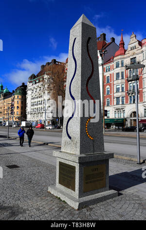 Air and Water Quality sculptures, Strandvagern area of Stockholm City, Sweden, Europe - Stock Image