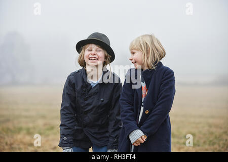 Portrait of smiling girls - Stock Image