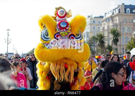 Eastbourne, UK. 17th Feb 2019. Lion dogs on the streets of Eastbourne as part of todays Chinese New Year celebrations, East Sussex.  Credit: Ed Brown/Alamy Live News - Stock Image