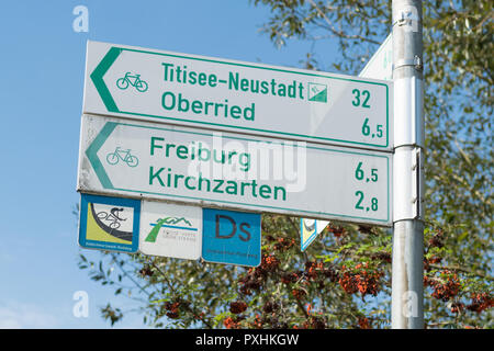 Freiburg im Breisgau cycling and cycle lanes signpost, Baden-Wurttemberg, Germany, Europe - Stock Image