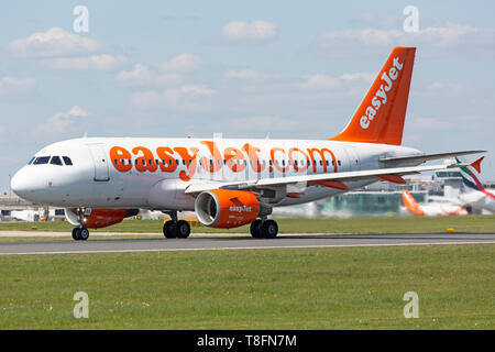 Easyjet Airbus A319-100 aircraft, registration G-EZAS, preparing for take off from Manchester Airport, England. - Stock Image