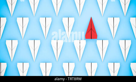 Being different concept: red paper plane going in a different direction. 3D rendering - Stock Image