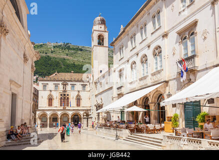 Croatia Dubrovnik Croatia Dalmatian coast dubrovnik cafe outside city hall marin drzic's theatre st blaise sponza - Stock Image
