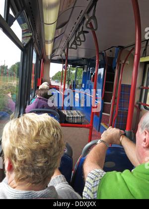 Passengers on an Edinburgh,Lothian Transport Bus. - Stock Image